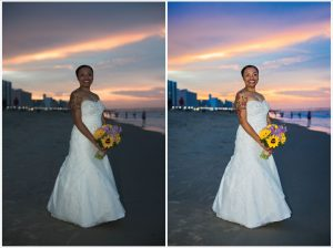 wedding, virginia, beach, sunset